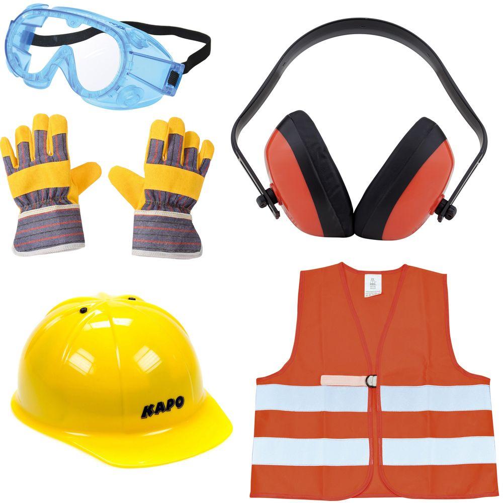 Kinder Bauhelm, Warnweste, Schutzbrille, Gehörschutz & Handschuhe