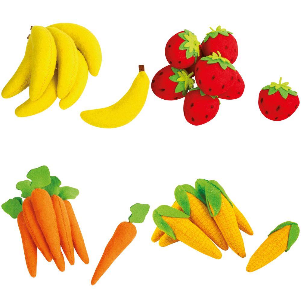 mariposa toys 10077 Filz Obst & Gemüse, für Kaufläden, Erdbeeren, Bananen, Maiskolben & Möhren, bunt, 28-teilig (1 Set)