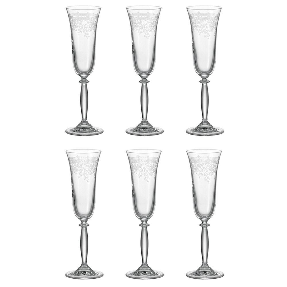 "montana 037966 ""Avalon"" Sektkelch 180 ml, Glas, florales Rankenmuster, klar (6 Stück)"
