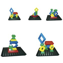 EDUPLAY 120-074 Triangle Puzzle mit Base, 24-teilig, bunt (1 Set) – Bild 2