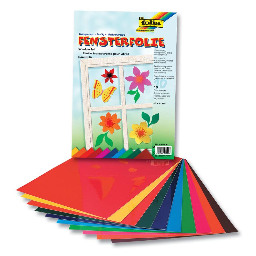 folia 450309 Fensterfolie, 35x50cm, selbsthaftend, 10 Farben, mehrfarbig (10 Bogen)