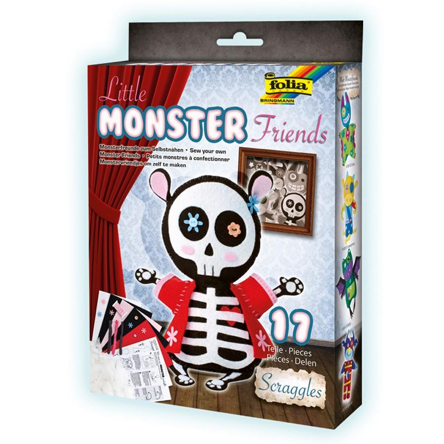 Folia Little Monster Friends Scraggles Filz Bastelset, mehrfarbig, 17-teilig (1 Set)