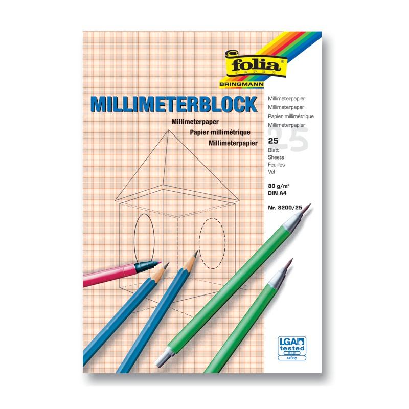 Millimeterpapier A4 Millimeterblock A4 20 Blatt Technisches Zeichenpapier
