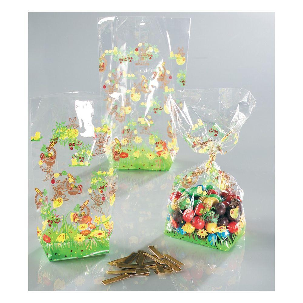 Folia Zellglasbeutel mit 4-farbigem Osterdruck, 115x190mm, transparent (10er Pack)