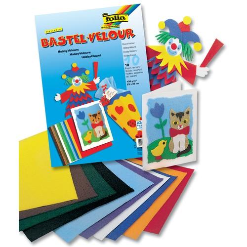 Folia Bastel-Velour Folielle 130 g/m², 50 x 70 cm, 10 Farben, mehrfarbig, 10-teilig (1 Set)