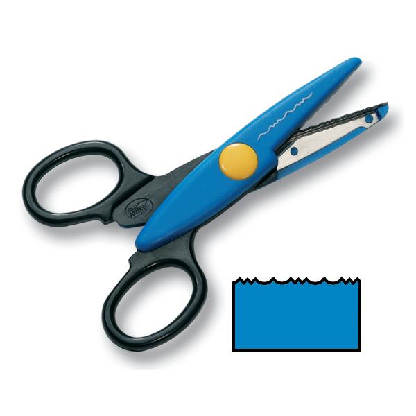 Folia 794 Konturen-Schere / Bastel-Schere mit Büttenrandschnitt, hellblau (1 Stück)