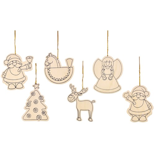 EDUPLAY Anhänger Weihnachten mit Goldfaden, natur, 6-teilig (1 Set)