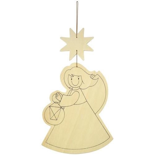 EDUPLAY Holz Türhänger Engelchen Weihnachten, natur (1 Stück)