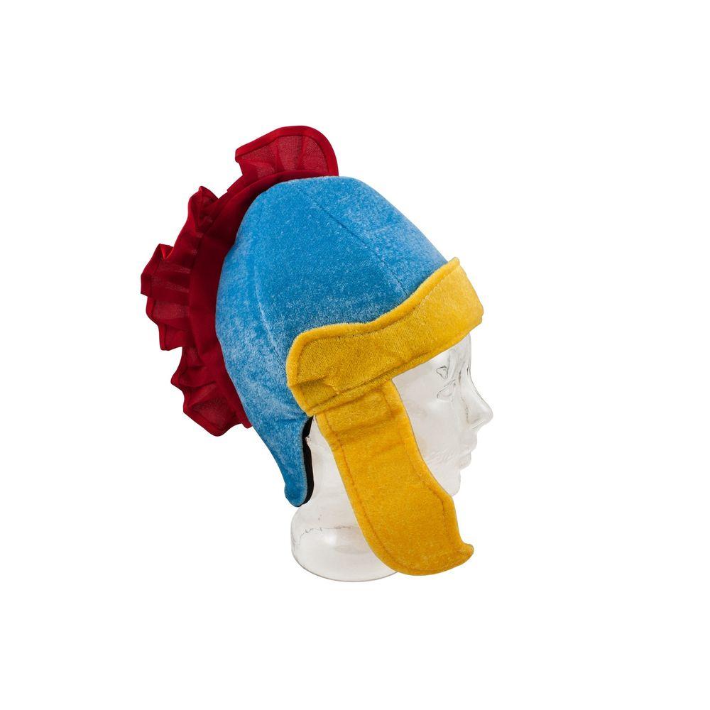 Römer Helm aus Stoff blau / gelb mit roten Kamm