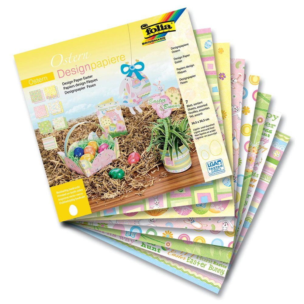 Folia 10649 Designpapier Ostern 190 g/m², 30,5 x 30,5 cm, 7 Motive, mehrfarbig (7er Pack)