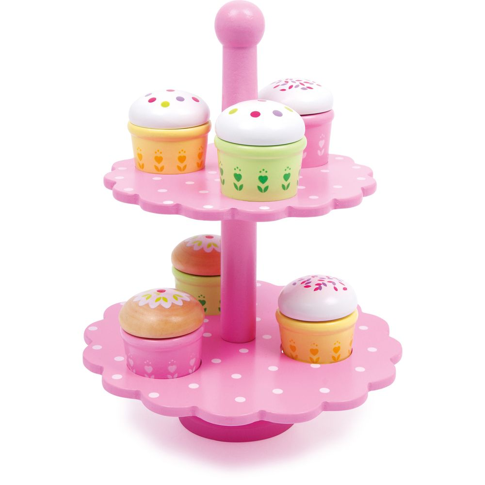 Small Foot 3309 Etagere Muffins aus Holz, mit bunten Mustern, rosa (1 Set)