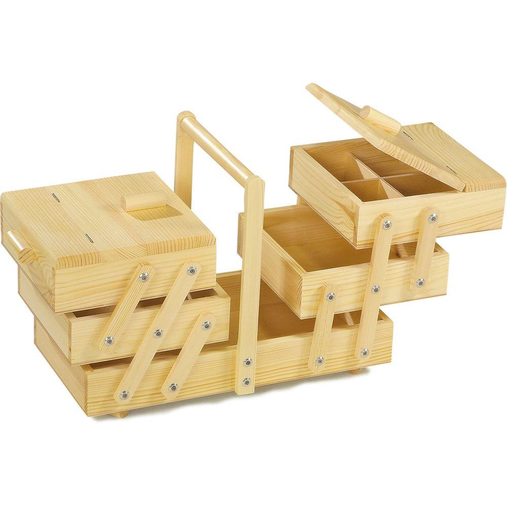 Small Foot 9602 Haushaltsnähkasten aus Holz, mit großen Fächern, natur (1 Stück)