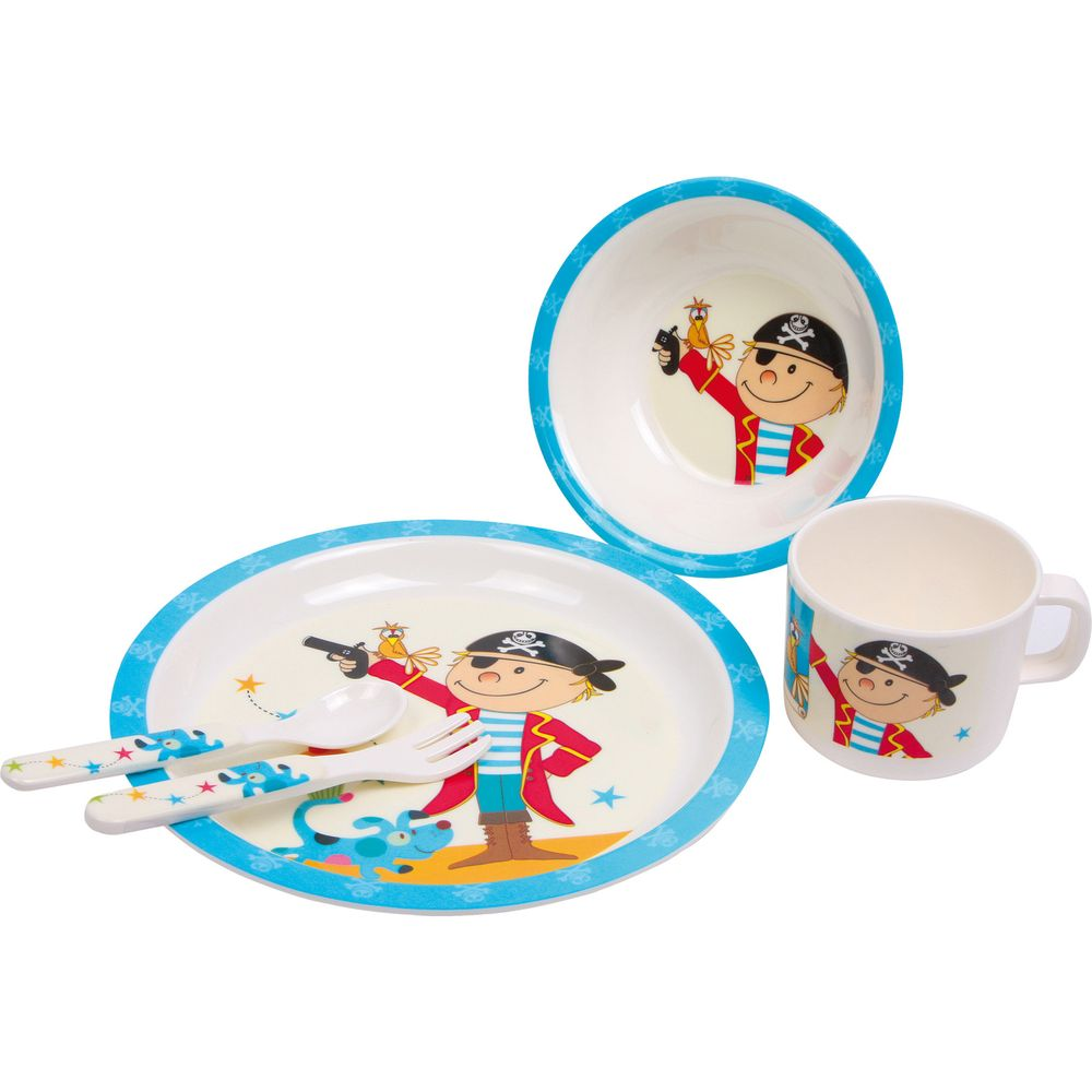 "Small Foot 9916 Kinder-Geschirr-Set ""Pirat"", mit Besteck, Kunststoff, bunt, 5-teilig (1 Set)"