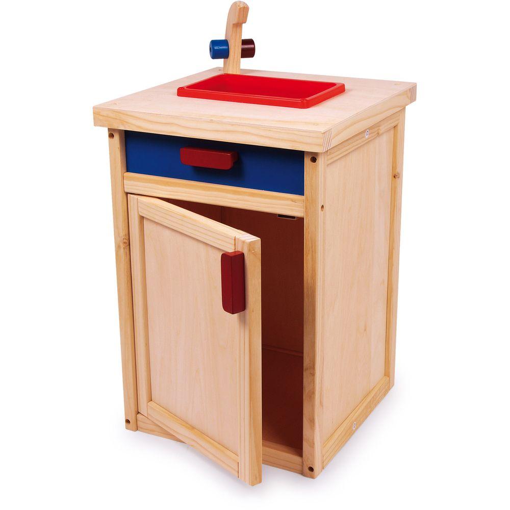 Small Foot 5041 Küchenspüle für Kinderküche, aus Holz, mehrfarbig (1 Stück)