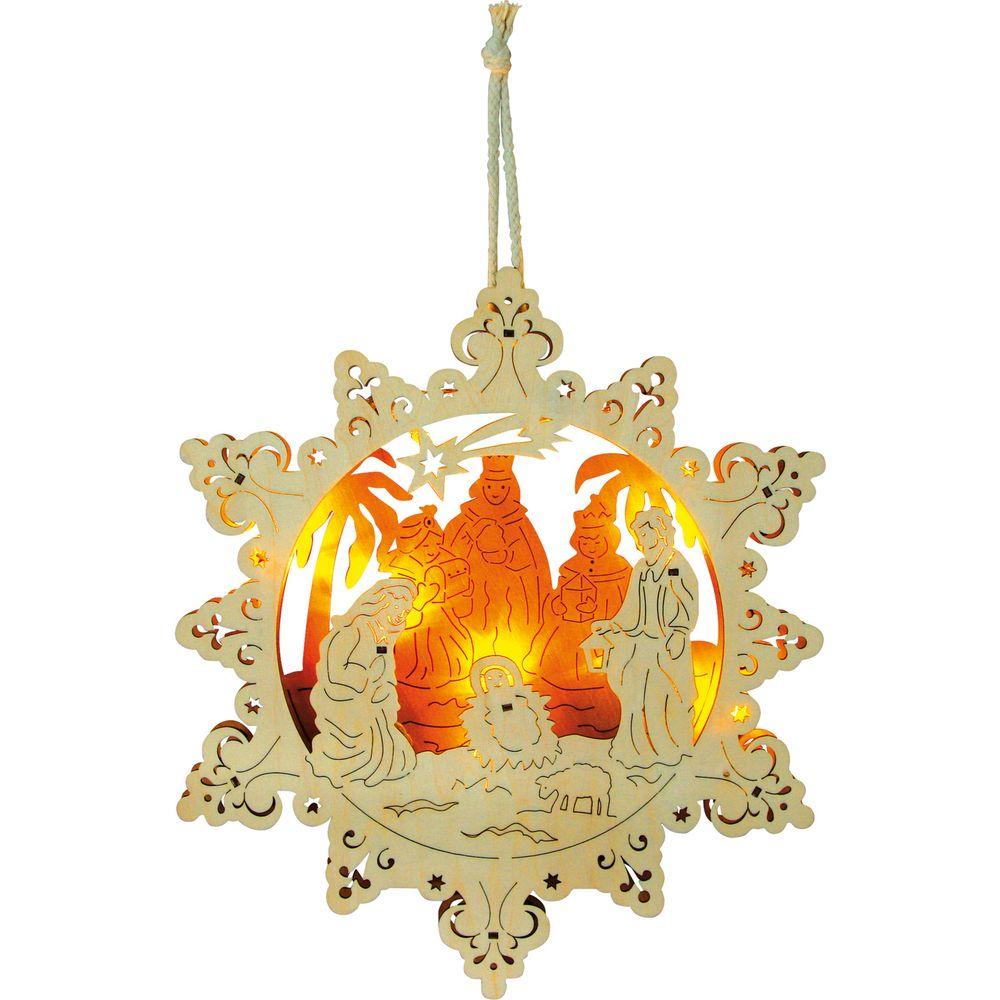 Weihnachtslampe Sternenkrippe aus Holz