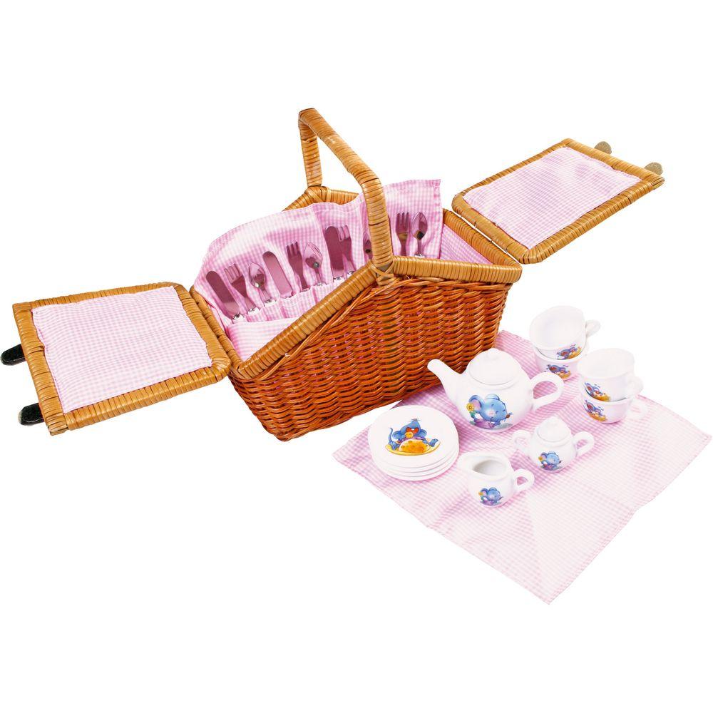 Picknickkorb Romantik mit Porzellangeschirr, 30-teilig