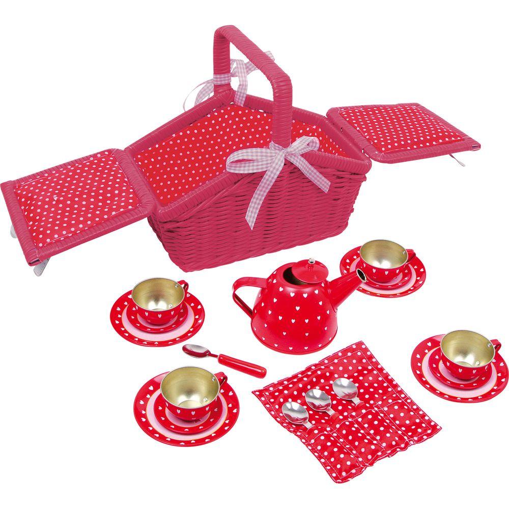 Small Foot 5303 Picknickkorb Sarah mit Geschirr, pink, 18-teilig (1 Set)