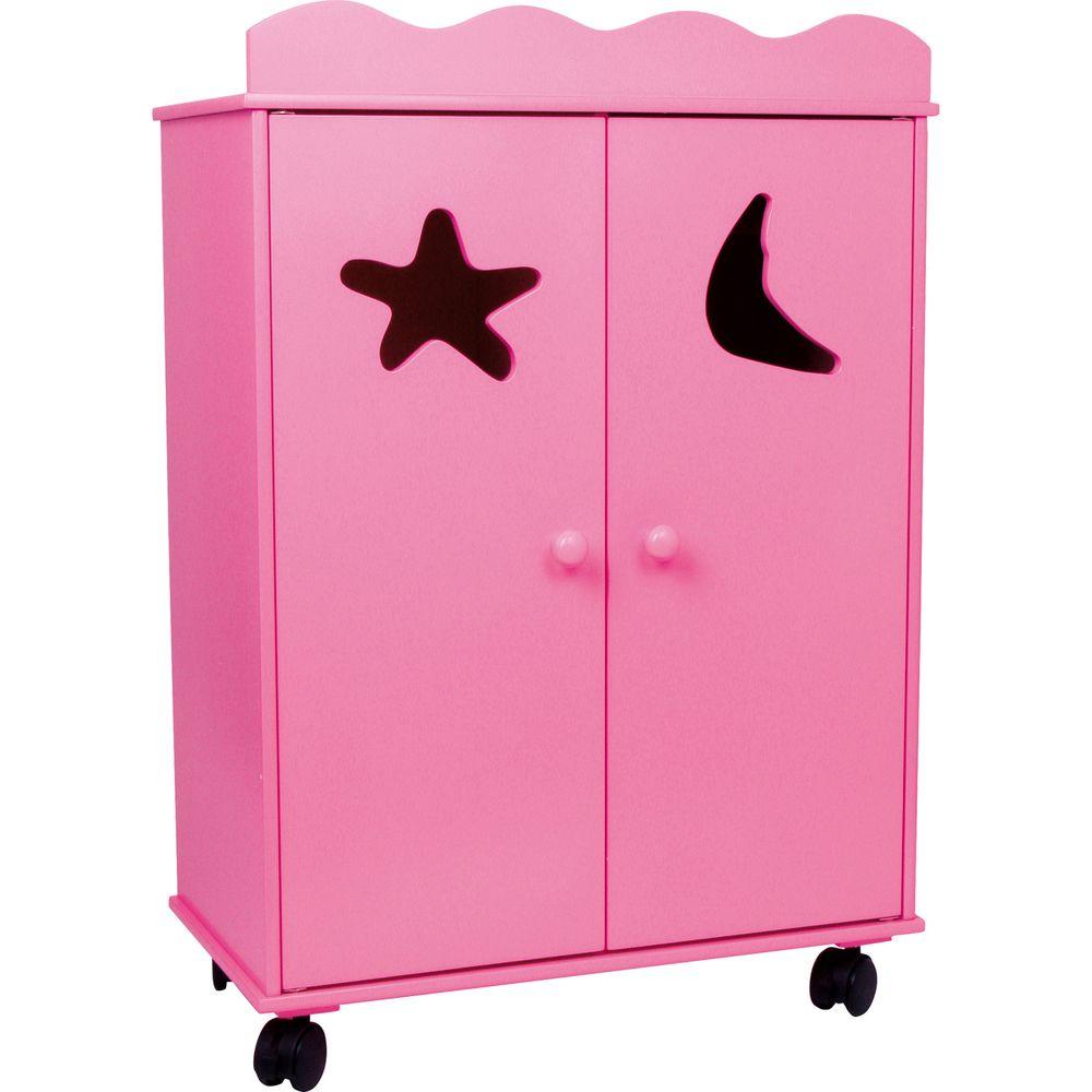 small foot 2880 puppen kleiderschrank pink mit rollen pink 1 st ck spielzeug kinderzimmer. Black Bedroom Furniture Sets. Home Design Ideas