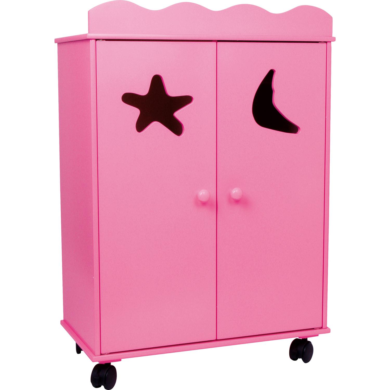 small foot 2880 puppen kleiderschrank pink mit rollen pink 1 st ck. Black Bedroom Furniture Sets. Home Design Ideas