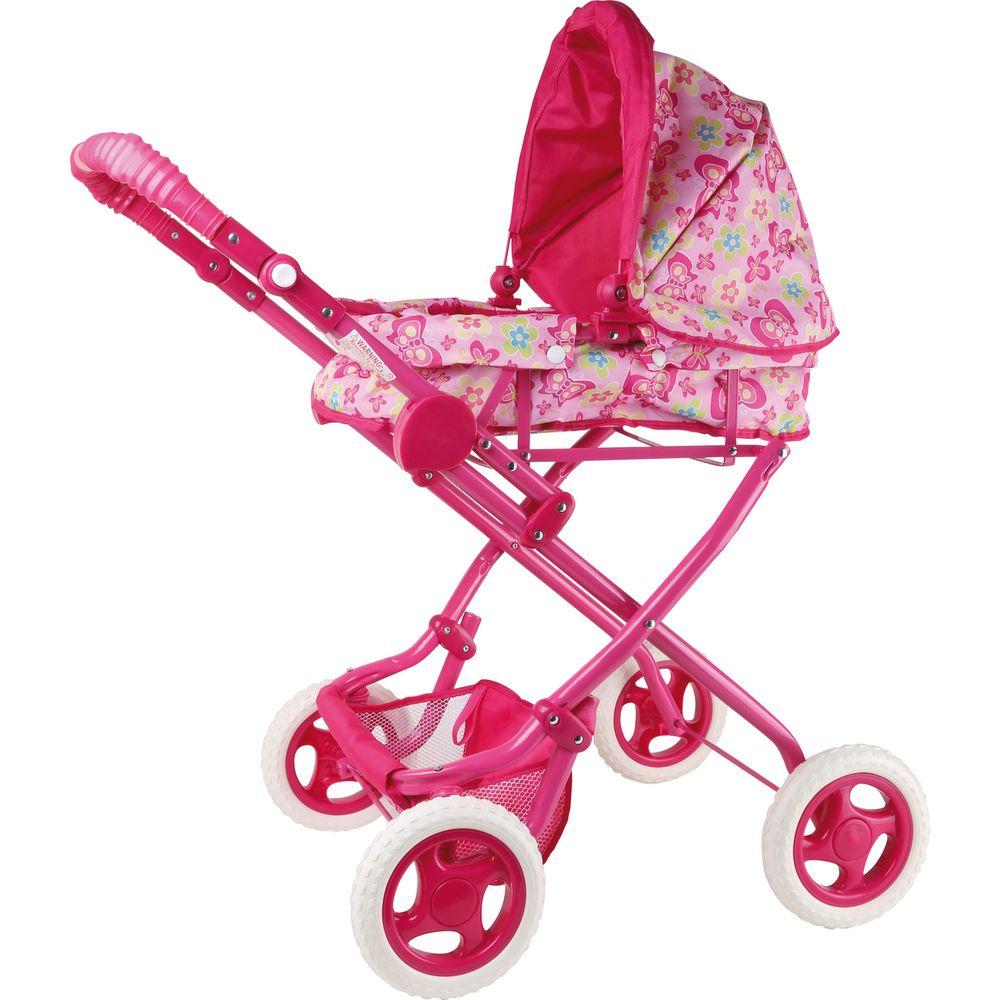 "Small Foot 4037 Puppenwagen ""Luxus"" mit herausnehmbaren Tragekorb, pink (1 Stück)"