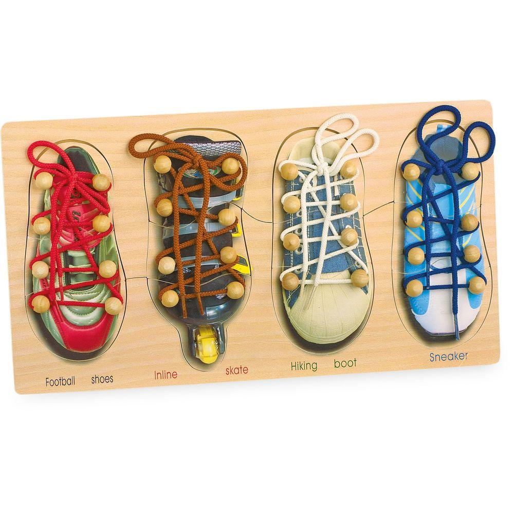 """Small Foot 8158 Puzzle """"Schuhe binden"""", zum Spielen und Lernen, bunt, 4-teilig (1 Set)"""
