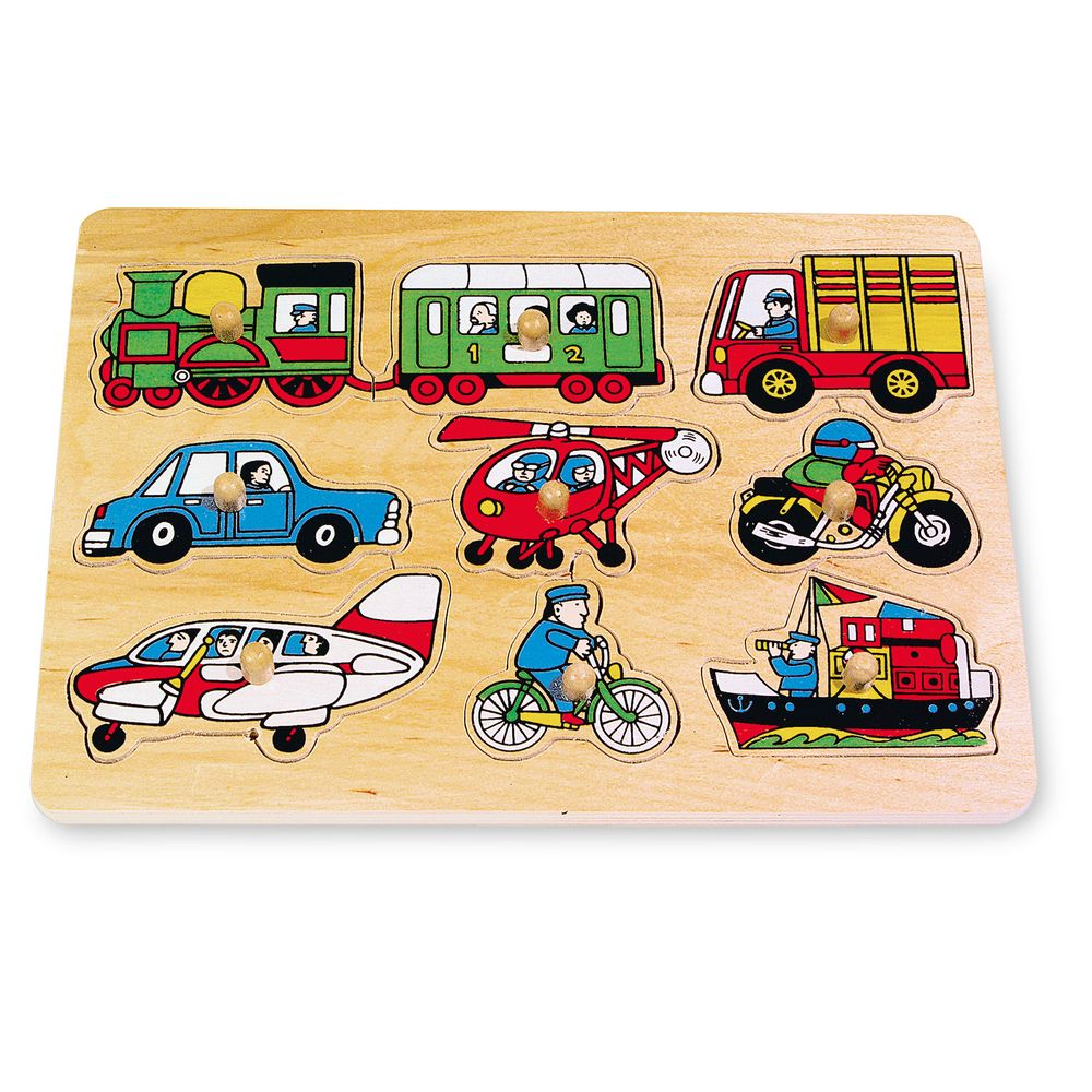 Setzpuzzle Verkehr aus Holz, 9-teilig
