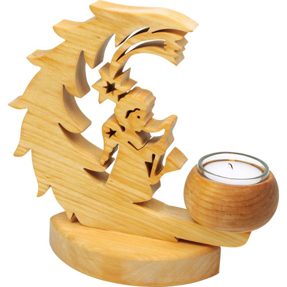 Teelichthalter Halbmond & Engel aus Holz
