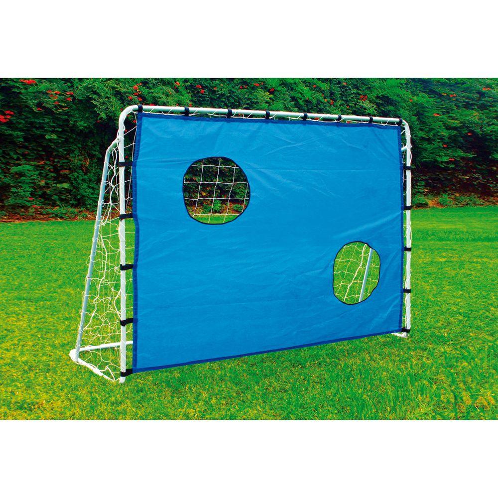 Fussballtor silber & Torwand blau 215 x 152 cm