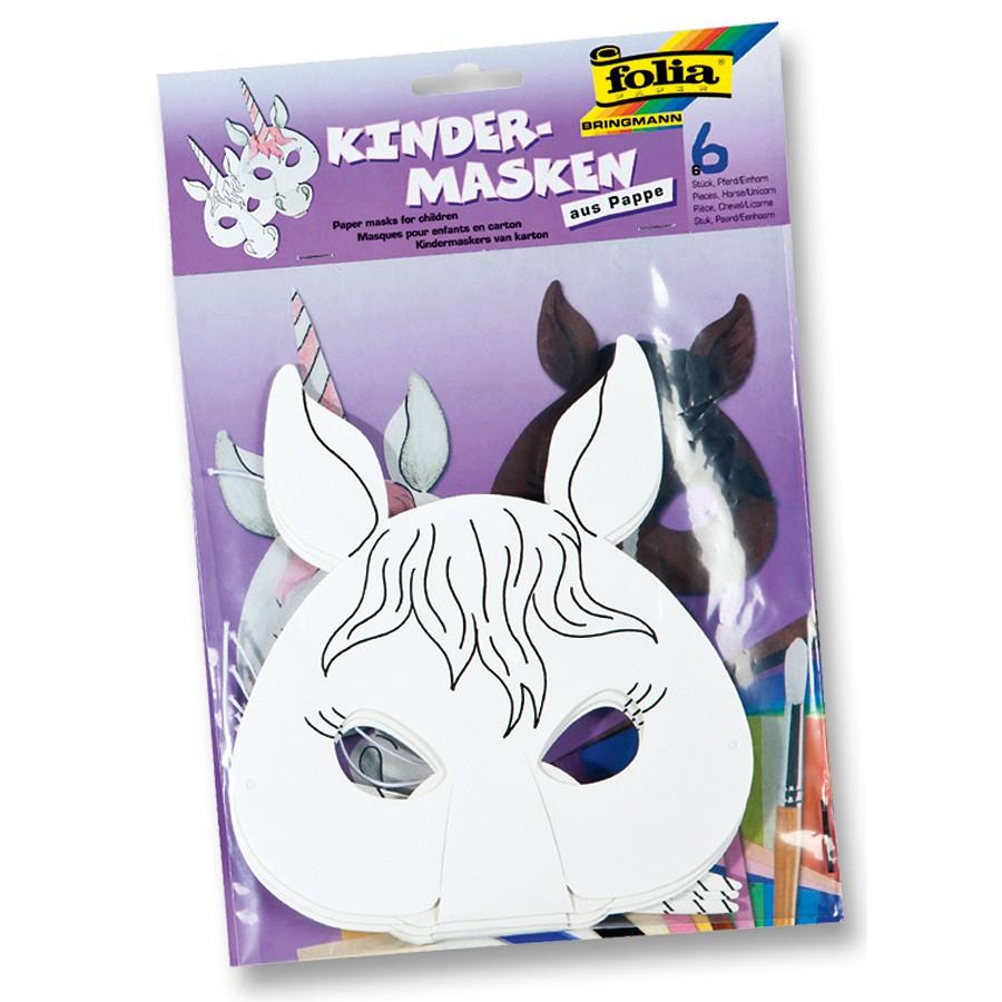 Kindermaske aus Pappe inkl. Gummi, blanko weiß, Pferd / Einhorn