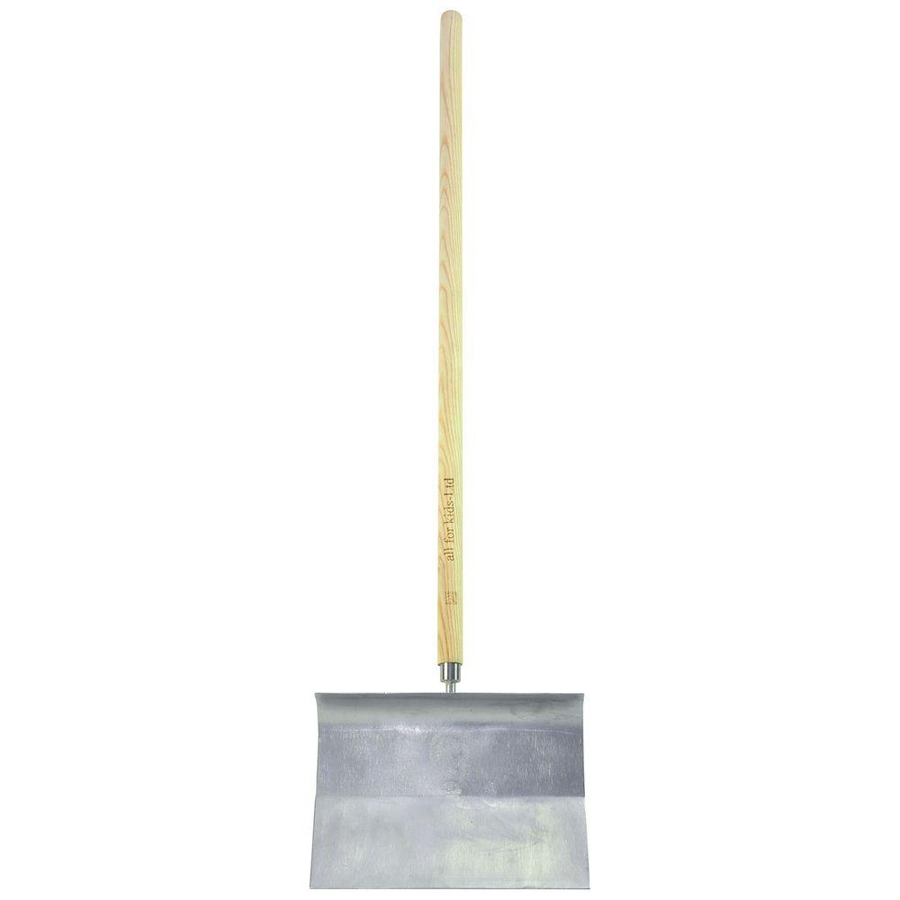 EDUPLAY 160-141 Schneeschieber aus Edelstahl & Stiel aus Eschenholz, 25x18cm, groß, silber/natur (1 Stück)