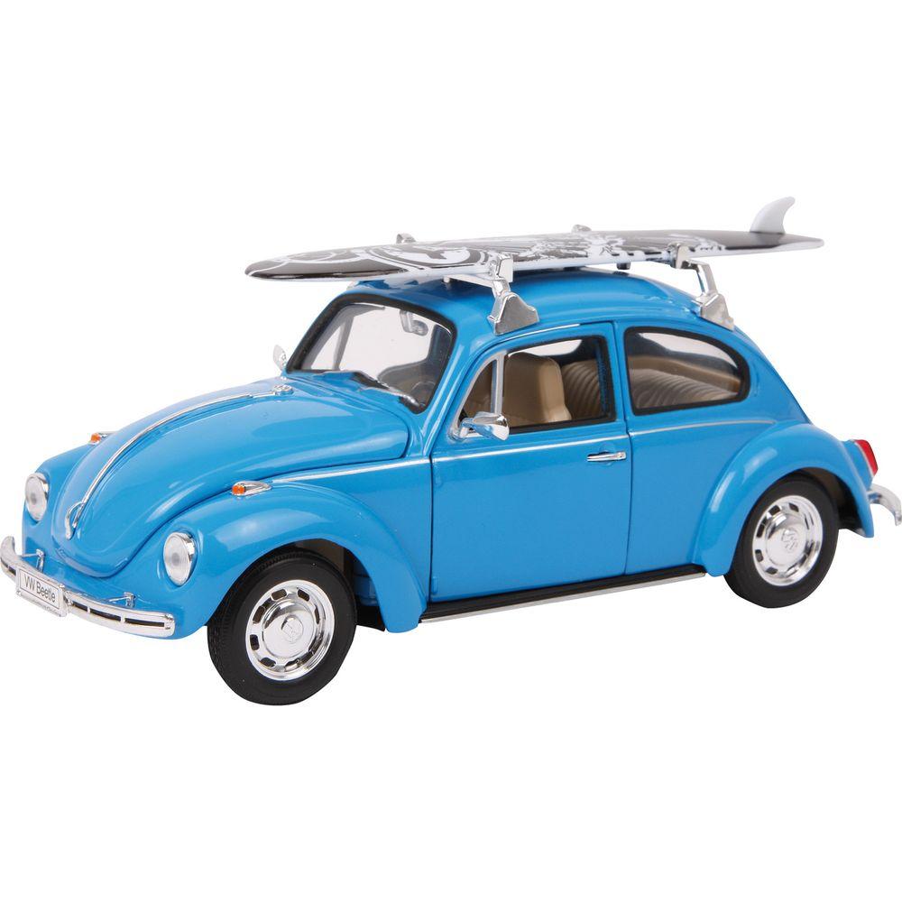 Modellauto VW Beetle in blau, mit Surfbrett und Rückzugautomatik