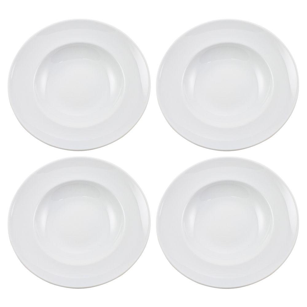 Pastateller 4er Set aus Porzellan Design Blanko 27cm, weiß