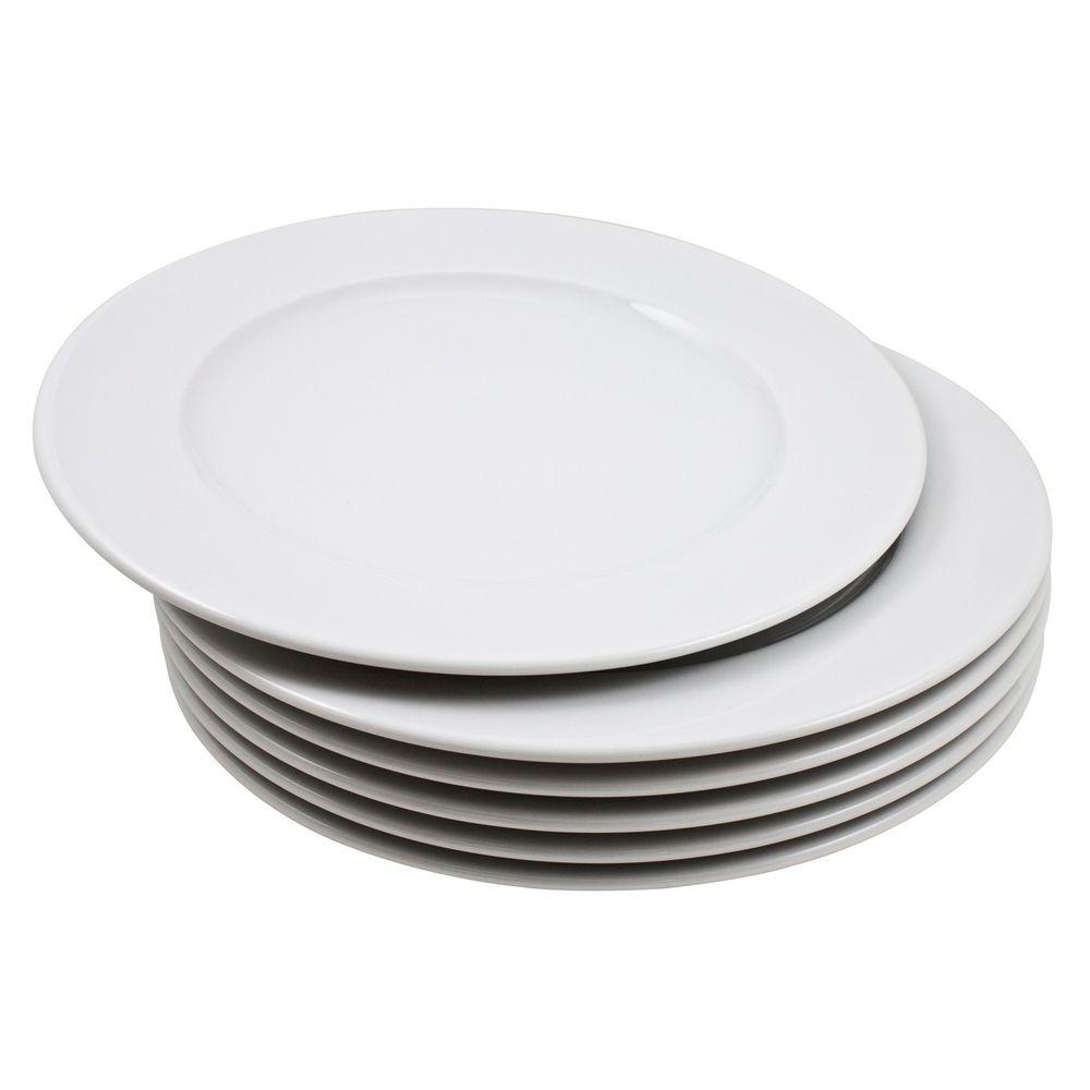Gourmetteller flach 6er Set aus Porzellan Design Blanko 28cm wei