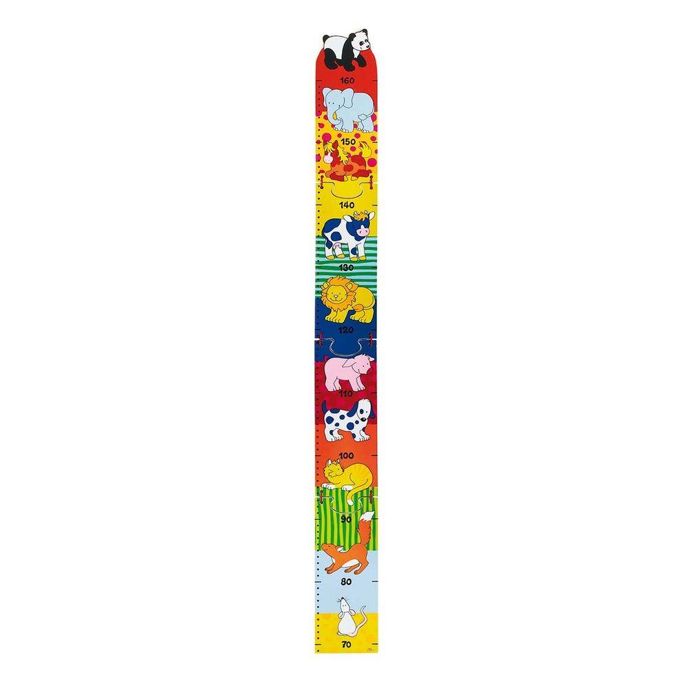 goki 60930 Messlatte Tiere, Länge 100cm, Holz, zusammenklappbar, bunt (1 Stück)