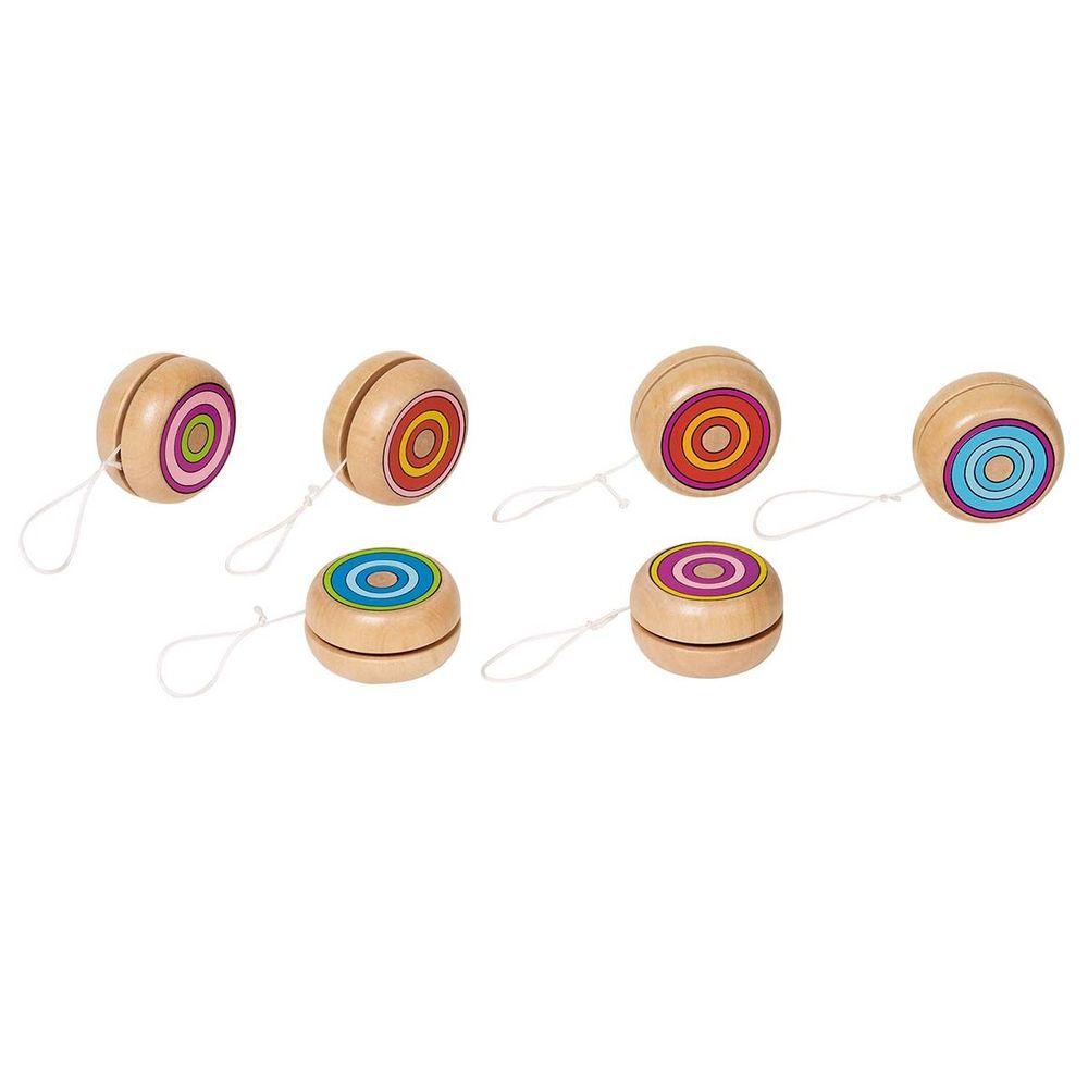 goki 62967 Jo-Jo bunte Ringe, Ø= 4,8 cm, Holz, natur (Modell zufällig, 1 Stück)