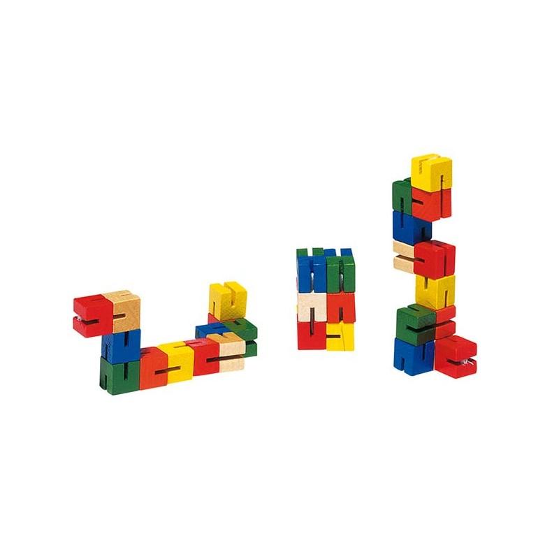 goki HS012 Pocket Puzzle, L= 14,5 cm, Holz, Würfel verbunden mit ...