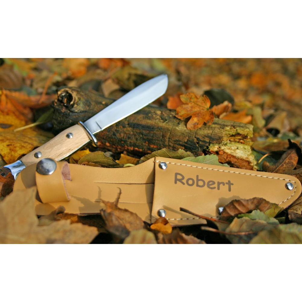 EDUPLAY 140084 Kinder Schnitzmesser mit Holzgriff & individueller Gravur auf der Lederscheide, natur/ocker (1 Stück)