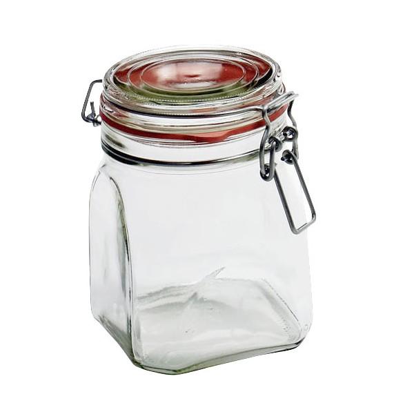Einmachglas, Glas, quadratisch, mit Drahtbügel, 900ml, klar (1 Stück)