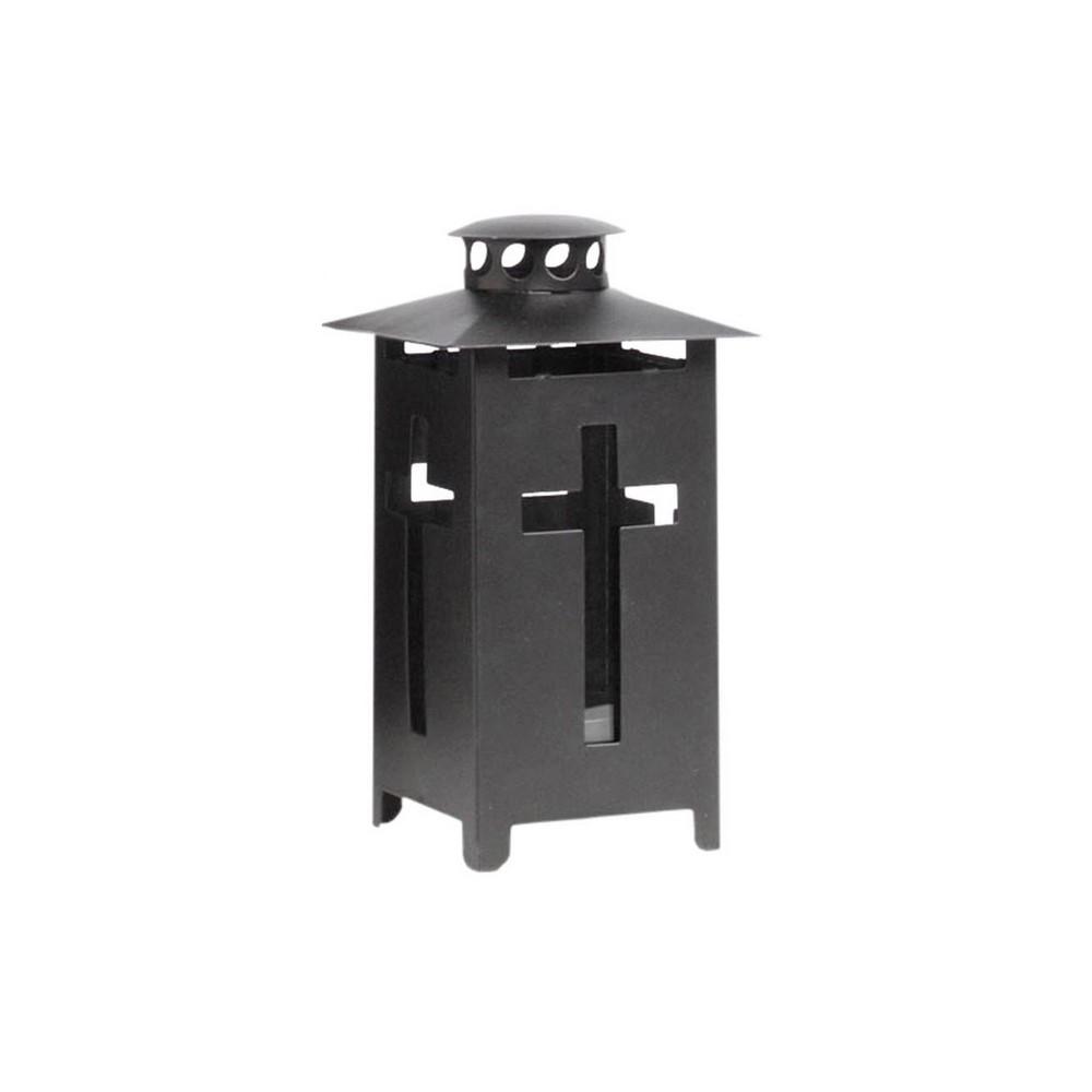 Grablaterne aus Metall mit Kreuz, schwarz, 9 x 9 x 16cm