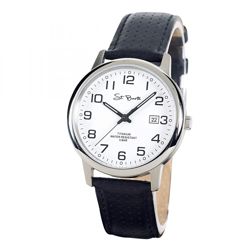 st barth herren armbanduhr titanium analog quarz lederband sgt 50181 12l. Black Bedroom Furniture Sets. Home Design Ideas