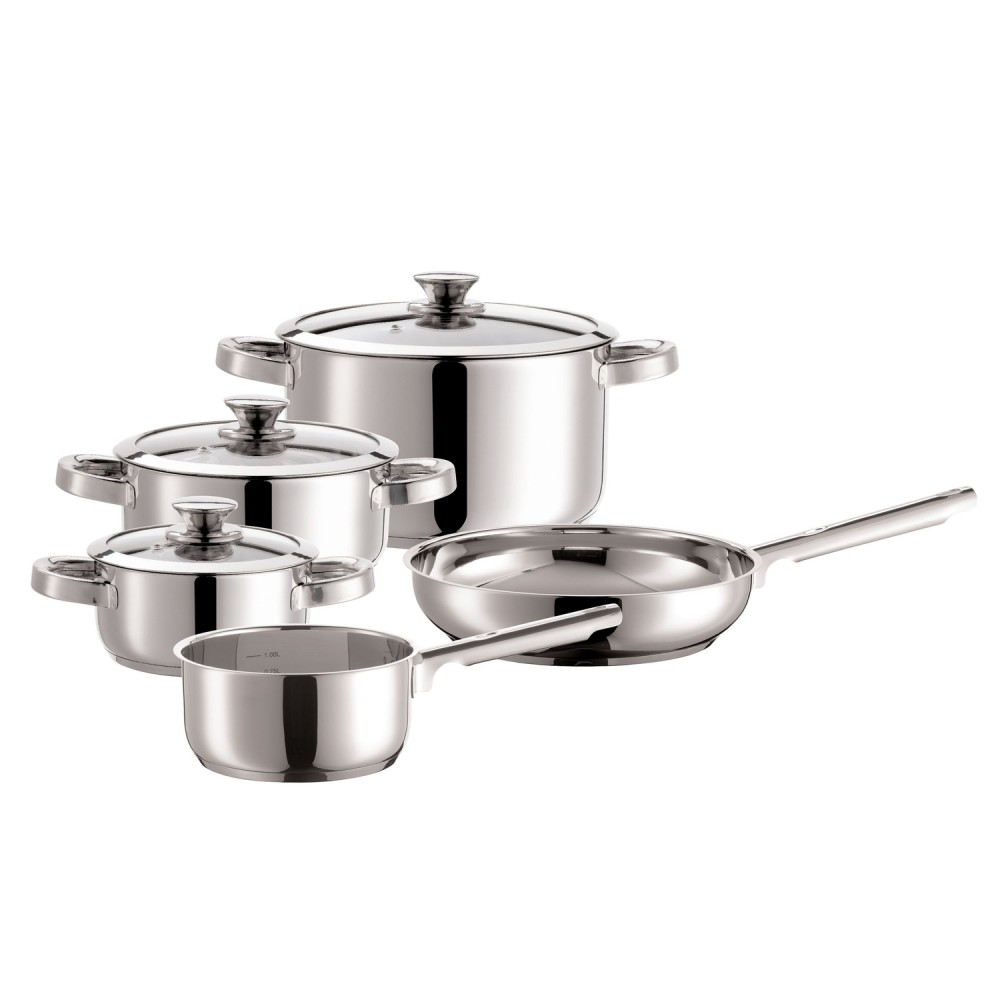 "Domestic Top Selection 926301 ""Varuna"" Kochset, 3 Töpfe, 1 Kasserolle, 1 Pfanne, silber, 8-teilig (1 Set)"