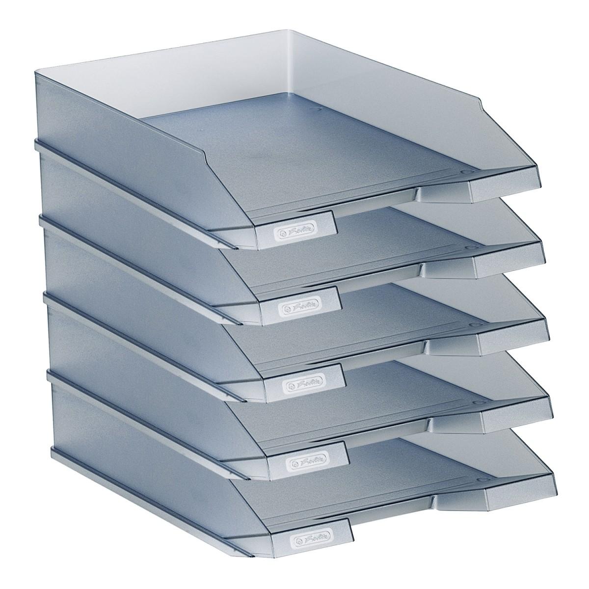 herlitz ablagekorb a4 aus kunststoff transluzent grau 5 st ck. Black Bedroom Furniture Sets. Home Design Ideas