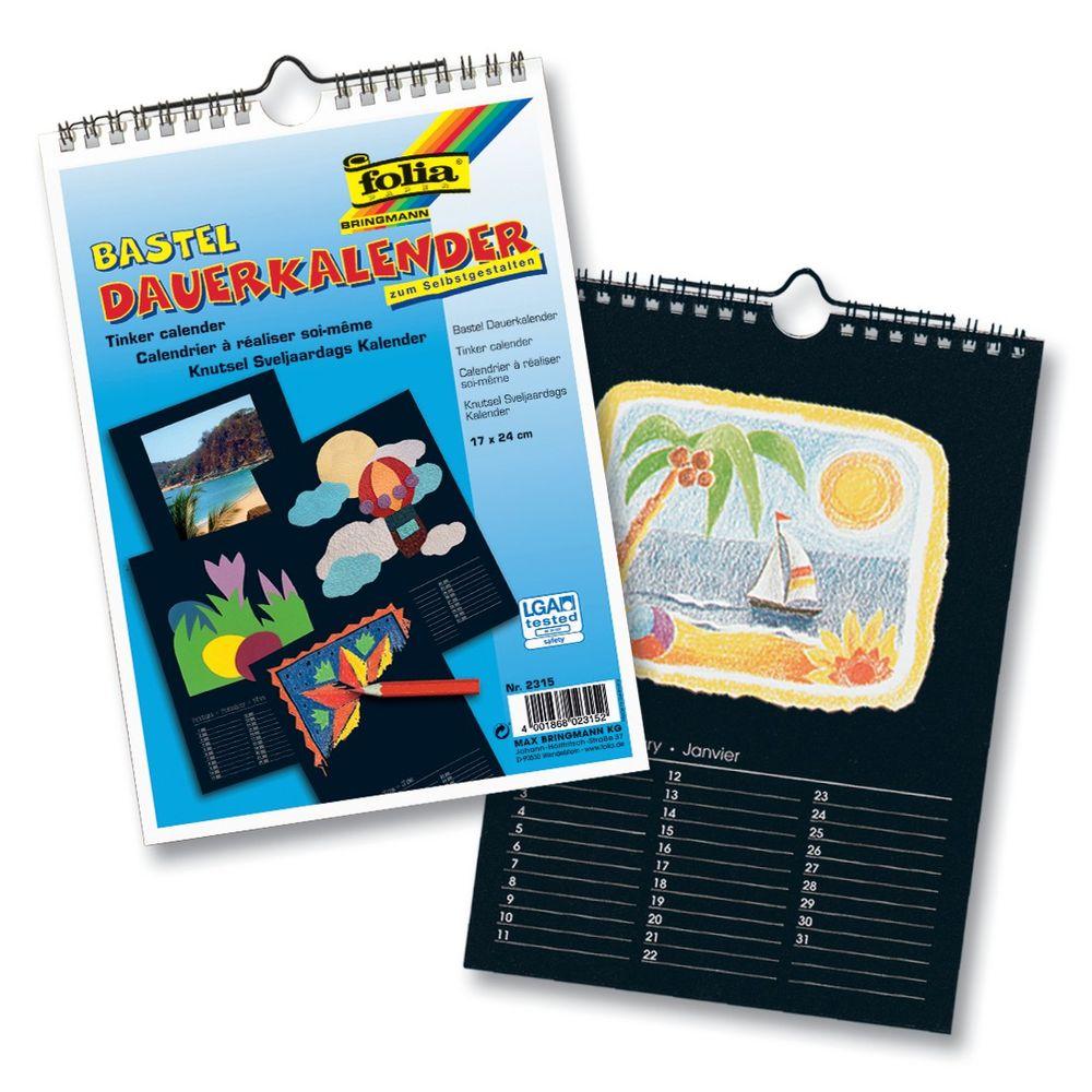 folia Bastel Dauerkalender, Spiralbindung, 17x24cm, Papier schwarz, Druck (10 Teile), silber (10 Stück)