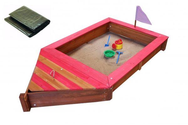 Sandkasten Boot-Form mit Abdeckplane