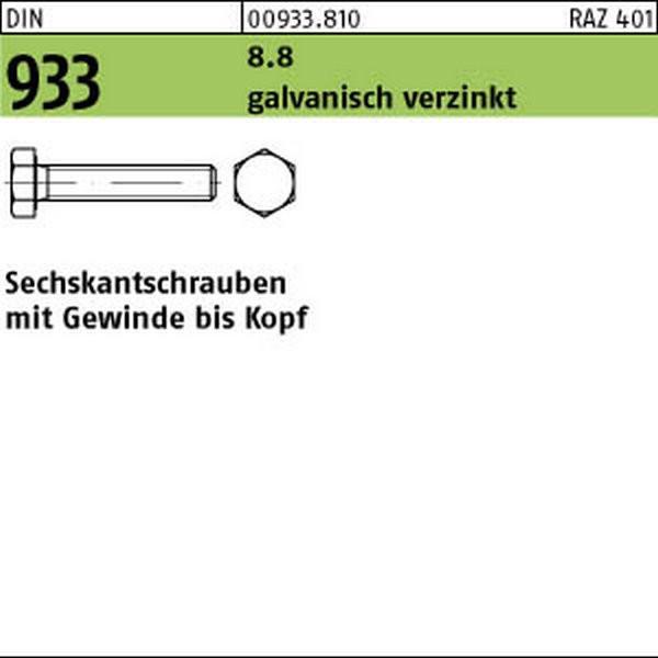 M16 DIN 933 8.8 Sechskantschrauben Gewinde bis Kopf