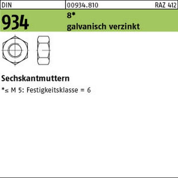 DIN 934 500 Sechskantmuttern M6 verzinkt