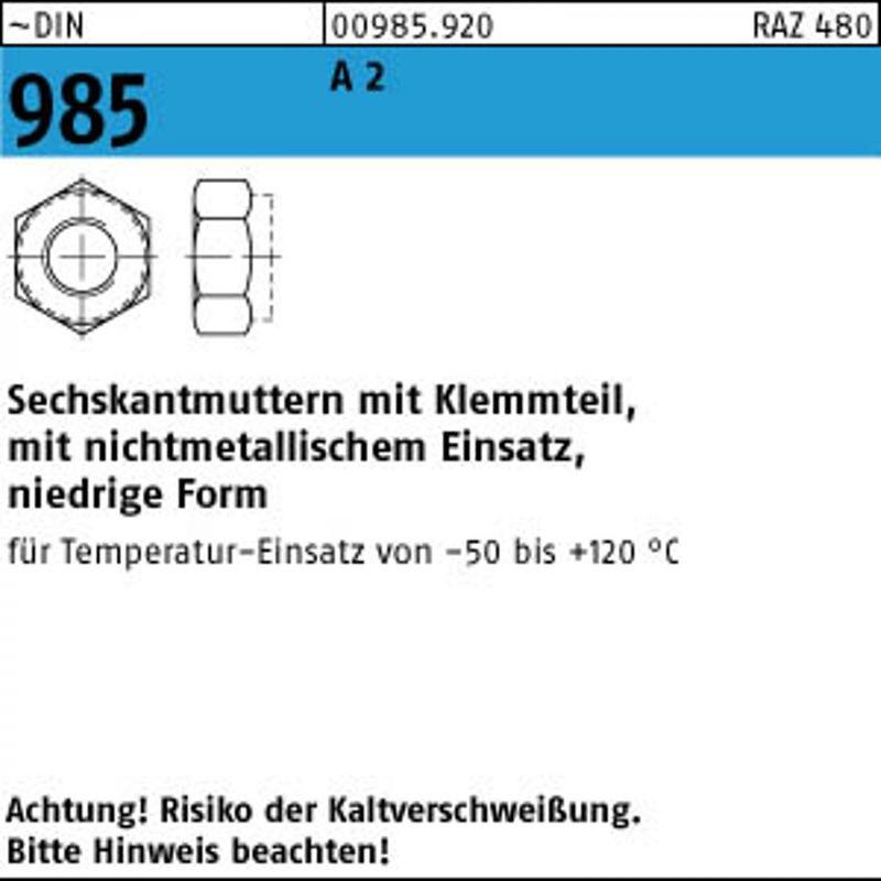 M7 DIN 985 A2 A 2 Sechskantmuttern mit Klemmteil – Bild 1