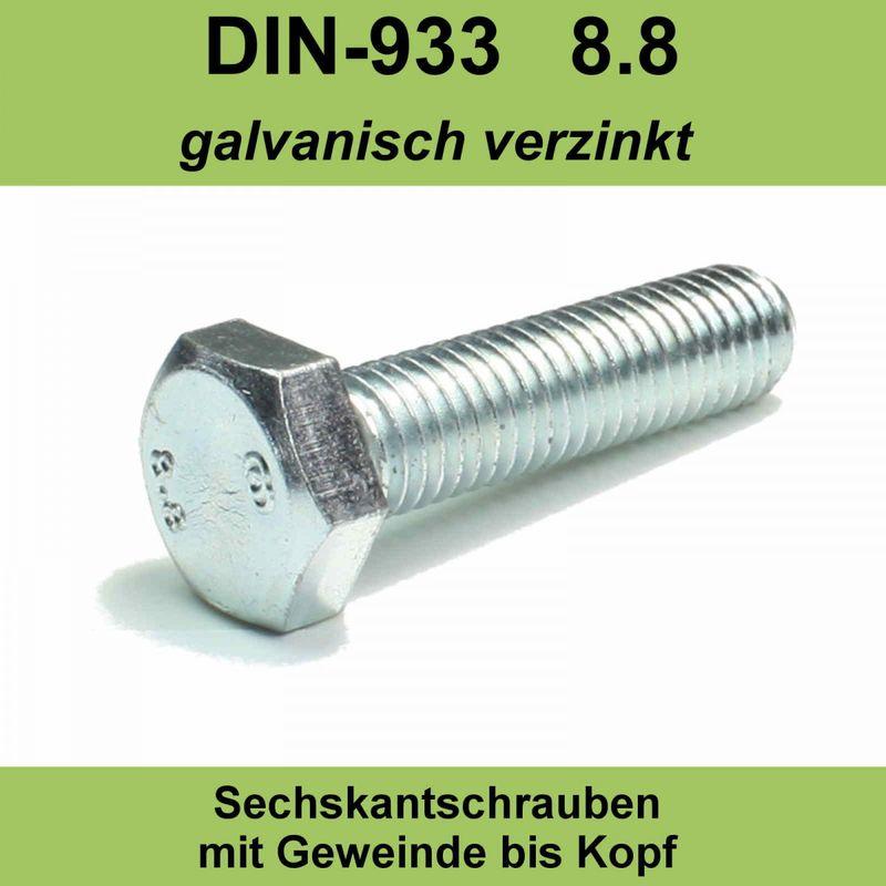 M8 DIN 933 8.8 Sechskantschrauben verzinkte Maschinenschrauben Gewindeschrauben Vollgewinde 50mm 20 St/ück