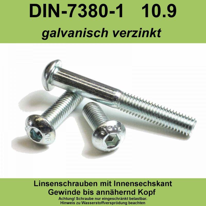 10 St/ück Linsenkopfschrauben M10 X 30//30 mit Innensechskant ISO 7380 Edelstahl A2