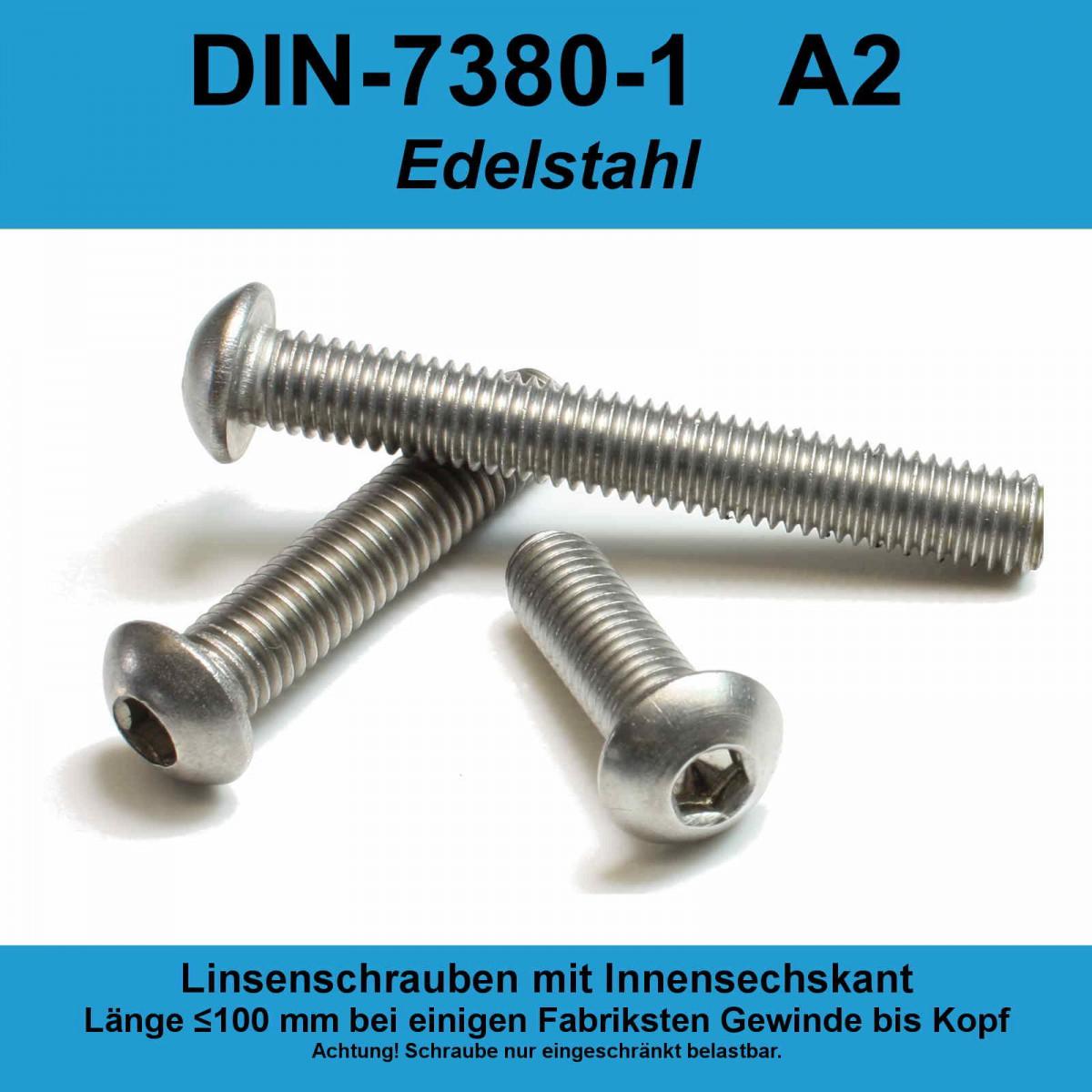 M10 Linsenkopfschrauben ISO 7380 EDELSTAHL V2A A2 Linsenschrauben Innensechskant